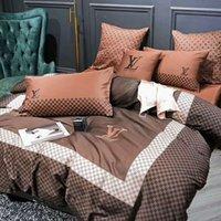 tekstil malzemeleri toptan satış-Marka Tasarım Mektup Baskı Yatak Seti Bahar pazen Yatak Seti 4 adet Moda Pamuk Kapak Takımları Çarşaf Ev Tekstili yatak malzemeleri