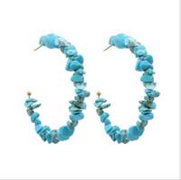boncuk tırnak modası toptan satış-Yeni Moda Trendi Çam Boncuk Küpe Kişilik Popüler Etnik Rüzgar Ezilmiş Taş El yapımı C-şekilli Güzel Kulak Tırnak takı