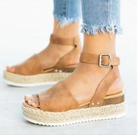 ingrosso nuove piattaforme di piattaforma-Sandali con tacco alto Scarpe estive 2019 nuovi sandali con zeppa Flip Flop Chaussures Femme