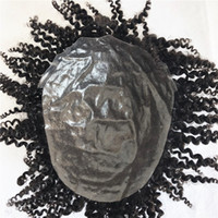 Wholesale natural hair toupees resale online - Human Hair Curly Toupee Hairpiece For Men Afro Curly Toupee Full Skin Pu Mens Toupee Replacement System Natural Hair Pu Men Wig