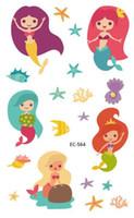 tatuajes falsos sexy al por mayor-Impermeable Tatoo Fake Tattoo Sticker Sexy Mermaid Starfish Sea Temporary Flash Tatto Tatouage Temporal para niña niños niños