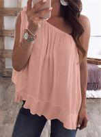 chemises pour femmes achat en gros de-Bonbons Couleur Lâche Femmes D'été T-shirts Couleur Unie Hors Épaule Dames Hauts Casual Tops Plus Size Womens Clothing