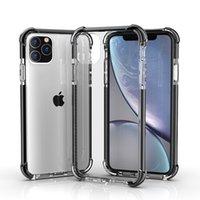 cajas de teléfono antichoque al por mayor-Caja del teléfono para el nuevo iPhone 11 2019 XR XS MAX X 7 8 Plus Dual Color Clear Hard Back Cover Anti-Scratch Shock Absorption