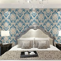 Wholesale gold wallpapers bedroom for sale - Group buy 3D stereo effect Europe wall paper blue Damascus blue gold pattern large non woven wallpaper living room TV sofa wall bedroom
