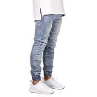 ingrosso jeans per jogger-Moda Stretch Uomo Jeans Denim Jogger design Hip Hop jogging per gli uomini jeans neri Designer dritto