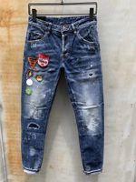männer zerrissen capris großhandel-Mens Designer Hosen New Style Casual Skinny Jogginghose Mens Designer Ripped Jeans Mitte der Taille Hosen Marke Mens Jeans Collage Design
