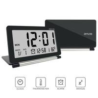 ingrosso orologi da viaggio-Calda sveglia elettronica Orologio da viaggio multifunzione silenzioso LED digitale grande schermo pieghevole orologio da tavolo temperatura data ora