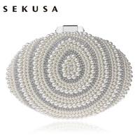ingrosso frizione in rilievo in perle di perline-Sekusa Egg Beaded Women Evening Bags Strass Pearl Day Clutch Chain Shoulder Piccola borsa Pu Borse moda / borsa da sera Q190429