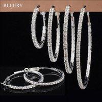Wholesale big silver rhinestone hoops for sale - Group buy 2018 Top Fashion Full Rhinestone Circle Earrings Classic Big Circle Earrings Silver Gold Color Crystal Hoop For Women