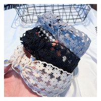Wholesale flowers made women face for sale - Group buy Casual Make Up Women Hairband Fashion Cross Lace Flower Headband High Quality Fabric Hair Band for Party