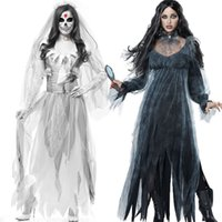 mulheres vestido zombie venda por atacado-Mulheres Cosplay Halloween Traje Horror Fantasma Dead Corpse Zombie Vestido De Noiva