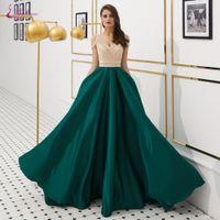 ingrosso vestiti di scollo profondo verde v-Waulizane Sexy scollo a V di Deep Green A Line Abiti da sera con strass cucito di spaghetti