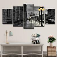 abstrakte dame gemälde großhandel-5 STÜCKE London City Streetscape Schwarz Weiß Poster Wandkunst HD Druck Leinwand Malerei Mode Hängen Bilder