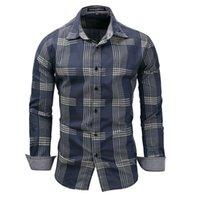 gündelik gömlek denim mens toptan satış-Erkek Tasarımcı gömlek 2019 Yeni Bahar erkek% 100% Pamuk ekose gömlek Casual Uzun Kollu Gömlek Denim tarzı Yıkanmış mens elbise gömlek