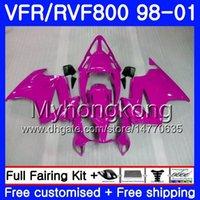 vfr kaplama takımı toptan satış-HONDA Interceptor VFR800R Için Vücut VFR800 1998 1999 2000 2001 259HM.27 VFR 800RR VFR 800 RR VFR800RR 98 99 00 01 Fairing Parlak gül sıcak seti