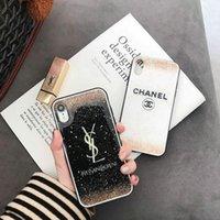 золотая оболочка iphone оптовых-ТПУ + блестящая золотая фольга чехол для iPhone XS MAX Mobile Shell дизайн бренда для X XR 6 6plus 7 7plus 8 8plus мягкая крышка