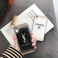 cáscara del oro del iphone al por mayor-TPU + Funda de teléfono de papel dorado brillante para iPhone XS MAX Mobile Shell Diseño de marca para X XR 6 6plus 7 7plus 8 8plus Cubierta suave
