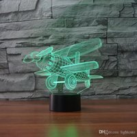 Wholesale plastic airplane propellers resale online - Propeller Airplane D light night plane shape Home Decor D Illusion Lamp Touch Color Change Kids Birthday Xmas Gift