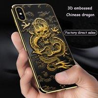 iphone çince kapsar durumlarda toptan satış-Iphone xs xr telefon kılıfı için Çin ejderha kabartmalı telefon kılıfı kişilik silikon damla koruyucu kapak Desteği 2 ADET teslimat