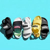 herren slipper designs großhandel-2019 neue Design PM Leadcat YLM Frauen Herren Sandalen Mode Gelb Schwarz Hausschuhe Liebhaber Lässig Sport Rutschen Strand