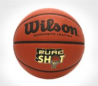chão de basquete ao ar livre venda por atacado-Wilson basquete cor natural PU piso de cimento resistente ao desgaste de basquete interior e exterior do jogo bola WB322G 7