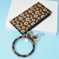 embrague estilo leopardo al por mayor-2 estilos girasol del leopardo imprimen la moneda del embrague Cartera del mitón con llavero portátil del bolso del monedero llavero gran círculo correa para la muñeca bolsa M291Y
