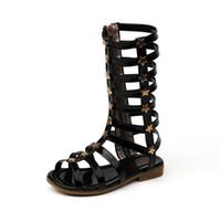 новые длинные туфли оптовых-Мода 2019 новые летние туфли для девочек детские сандалии римские туфли для девочек пляжные сандалии детские дизайнерские туфли девушка длинные сандалии A3807