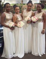 Wholesale coral chiffon fabric for sale - Group buy Hot sale Sequined Fabric Bridesmaids Dresses Chiffon Long Jewel Neck Chiffon Empire Beach Style Plus size Cheap Prom Evening Dress