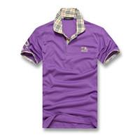 diseños de camisetas pequeñas al por mayor-Estilo clásico británico de los hombres de diseño de algodón de doble hebilla POLO camisa moda vanguardista directo de fábrica al por mayor pequeño diseño de logotipo POLO