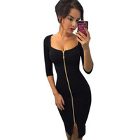 bürokleidung rotes schwarzes kleid großhandel-Mode frauen sexy club bodycon casual dress herbst winter party blau rot schwarz knielangen party büro tragen kleider # null