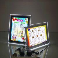 iş posterleri toptan satış-Kristal Fotoğraf Çerçeveleri, LED Işıklı Işık Kutusu / Poster Tutucu, İş Reklam için Duvar Asılı Dekorasyon (Şeffaf, A3   A2 / A4 / A5)