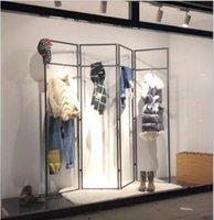 складной гладильный стеллаж оптовых-Железо одежда магазин дисплей вешалка этаж стеллажи сушилка для одежды среднего островных стеллажах краткие творческие раздела складные стойки