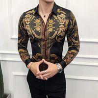 camisa preta do clube dos homens venda por atacado-Outono Mens Camisas de Ouro Social Club Shirt de Luxo Barroco Camisas Camisa Slim Fit Mens Designer de Ouro Preto