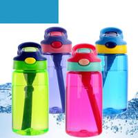 çocuklar için plastik su şişeleri toptan satış-Plastik Autoseal Çocuk İçme Şişeler Öğrenci 15oz Yeni 450mL Çocuklar Autospout Su Şişesi Straw Kapaklı Tumbler Kulp