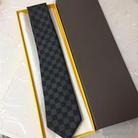 iplik bağları toptan satış-Tasarımcı erkek kravat moda marka yüksek kalite 100% ipek iş rahat gömlek kravat moda iplik boyalı jakarlı kravat hediye kutusu ambalaj