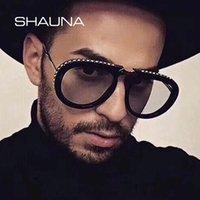 blaue sonnenbrille für frauen großhandel-Shauna Luxus Kristall Falten Pilot Sonnenbrille Frauen Markendesigner Übergröße Klar Rosa Blau Gelb Sonnenbrille Männer MX190723