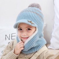 Wholesale star beanie baby hat winter for sale - Group buy Winter Baby Hat Scarf Boy Girl Joint Cap for Toddler Kids Child Warm Cute Fashion Star Beanie Knitted Neck Warmer Years