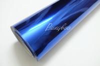 auto envoltura de cromo azul al por mayor-152 cm * 18 m Car Styling Wrap Espejo Azul Oscuro Cromado Vinilo Etiqueta Engomada Del Cuerpo Del Coche Con Burbuja Libre de Aire Para Vehiche Motocicleta