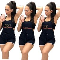 Wholesale fashion cloth female for sale - Group buy Women Fashion Guc Letter Printed Suspender Pants Overalls Brand Female Jumpsuits Rompers Designer Straps Shorts Trousers Cloth C61203
