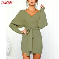 d1464f3a2cb Wholesale dolman sweater dress online - Tangada Women Knitted Mini Autumn  Winter Ladies Sexy Green Sweater