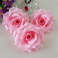 kunstseide korallen rosenblüten groihandel-10 cm Coral Pink Künstliche Rose Silk Blumenköpfe Dekorative Blumen Hochzeit Bankett Dekoration Mischen 10 Teile / los