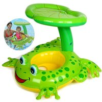 barco de plástico para niños al por mayor-Asiento flotador rana accesorios de la piscina de plástico niños niños piscina inflable natación círculo catoon inflable barco de juguete