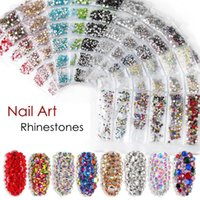Wholesale nail arts resale online - Nail Art Rhinestones Decorations Flat Bottom Glass Rhinestone Size Mixing Shiny Diamond Manicure Tools DIY Accessories HHA316
