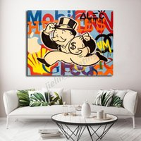 peintures d'argent achat en gros de-Alec Monopolyingly Run With Money Canvas estampes Image Peintures modulaires pour le salon affiche sur le mur Home Decor