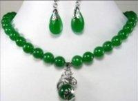 dragón de joyas de jade de plata al por mayor-Joyas 10 mm pendientes de jade de dragón de plata conjuntos de collar colgante 18