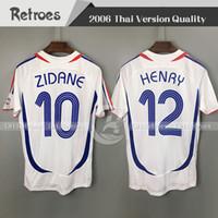 Wholesale world cup resale online - 2006 FRANCE Retro Soccer Jersey ZIDANE Henry Trezeguet Vieira Ribery world cup Vintage Football Shirts