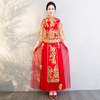 dragão vermelho cheongsam venda por atacado-Vestido De Noiva Vermelho Bordado Chinês Tradicional Vestido de Noite Do Vestido de Cheongsam Dragon Phoenix Vestido Vestido De Noite China Qipao