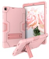 Wholesale heavy duty tablet pc resale online - Heavy Duty Silicone PC Hybrid Case with Kickstand for Samsung Galaxy Tab A T510 T515 Tablet Protective Back Cover