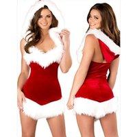 ingrosso biancheria intima del petto-Sexy Costume di Natale Lingerie Halloween Stage Show Vestito intero Uniforme Tentazione Tuta rossa bianca erotica Backless Low Bosom Underwear