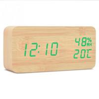 led masa ahşap saat toptan satış-Masaüstü Ahşap Oturma Odası Elektronik İşlevli LED Ekran Danışma Çalar Saat